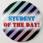 [ Thumbnail: Light Pastel Colors & Black Stripes Pattern Button ]