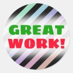 [ Thumbnail: Light Pastel Colors & Black Stripes Pattern Round Sticker ]