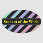 [ Thumbnail: Light Pastel Colors & Black Stripes Pattern Sticker ]