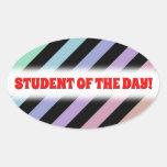 [ Thumbnail: Light Pastel Colors & Black Stripes Pattern Sticker ]