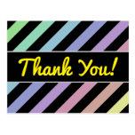 [ Thumbnail: Light Pastel Colors & Black Stripes Pattern Postcard ]