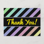 [ Thumbnail: Light Pastel Colors & Black Strips Pattern Postcard ]