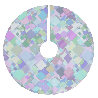 Light Pastel Colors Rectangle Pattern Brushed Polyester Tree Skirt