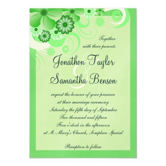 Light Pastel Green Floral 5x7 Wedding Invitations