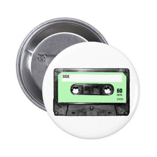 Light Pastel Green Vintage Cassette Pins
