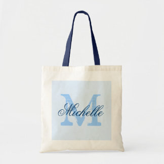 Light pastel & navy blue monogram wedding tote bag canvas bags