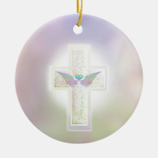 Light pastel pearl cross with heart and angel wing Double-Sided ceramic round christmas ornament