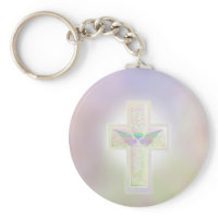 Light pastel pearl cross with heart and angel wing keychain