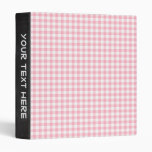 Light Pastel Pink and White Gingham 3 Ring Binders