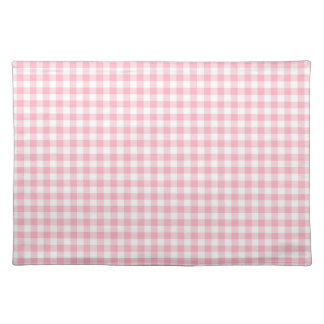 Light Pastel Pink and White Gingham Cloth Place Mat