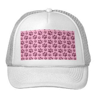 Light pastel pink dog paw print pattern mesh hat