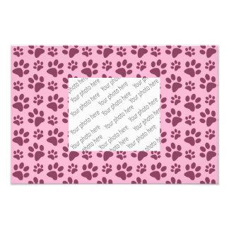 Light pastel pink dog paw print pattern photo print