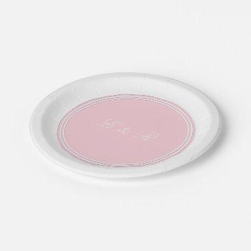Beach Themed Light Pastel Pink Wedding Decorations Paper Plate