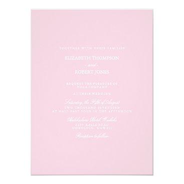 Beach Themed Light Pastel Pink Wedding Invitation Set