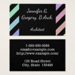 This business card design features a striped black and pastels color pattern on the front. It could be used by a professional such as an architect, interior decorator, or interior designer. The name, profession and contact details can be personalized.