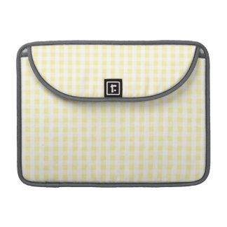 Light Pastel Yellow & White Gingham Pattern MacBook Pro Sleeve