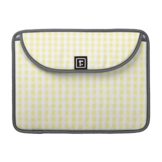Light Pastel Yellow & White Gingham Pattern Sleeves For MacBook Pro