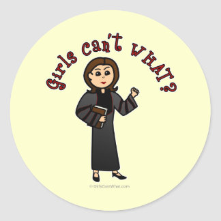 Light Pastor Girl Classic Round Sticker