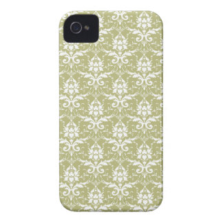 Light Pea Green Damask Pattern iPhone 4 Case-Mate Case