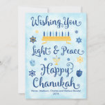 """Light & Peace Happy Chanukah<br><div class=""""desc"""">A Jewish Hanukkah theme card with a menorah,  Star of David and Driedel. The text reads Wishing You Light & Peace Happy Chanukah. The background is a light blue watercolor wash. Click Customize It to personalize the back with your own message,  photo and/or company logo.</div>"""