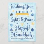 "Light & Peace Happy Hanukkah Holiday Card<br><div class=""desc"">A Jewish Hanukkah theme card with a menorah,  Star of David and Driedel. The text reads Wishing You Light & Peace Happy Hanukkah. The background is a light blue watercolor wash. Click Customize It to personalize the back with your own message,  photo and/or company logo.</div>"