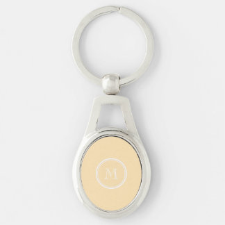 Light Peach High End Colored Silver-Colored Oval Metal Keychain
