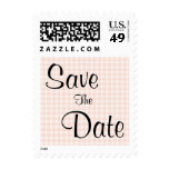 Light Peach Pink Check Pattern Save The Date Stamp