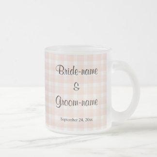 Light Peach Pink Check Pattern Wedding 10 Oz Frosted Glass Coffee Mug