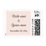 Light Peach Pink Check Pattern Wedding Postage Stamps
