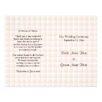 Light Peach Pink Check Pattern Wedding Program