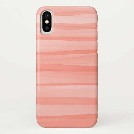 Light Peach Watercolor Lines Pattern iPhone X Case