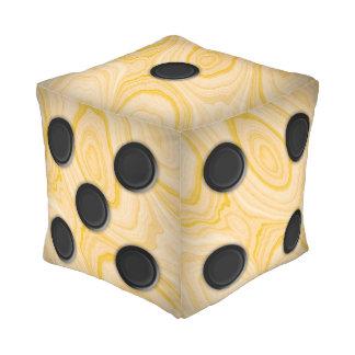 Light Pinewood Die Cube Pouf