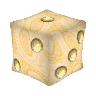 Light Pinewood Die, Golden Dots Pouf