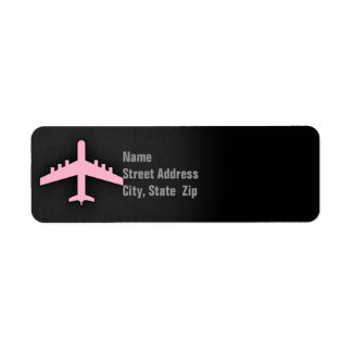 Light Pink Airplane Label
