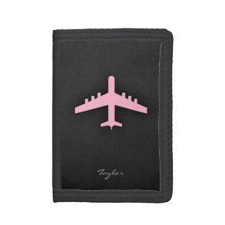 Light Pink Airplane Trifold Wallet