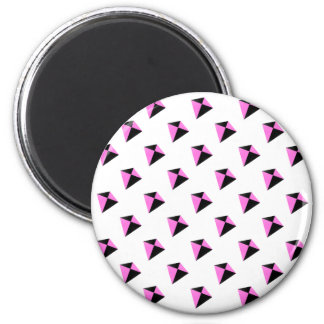 Light Pink and Black Diamond Shaped Kite Pattern 2 Inch Round Magnet