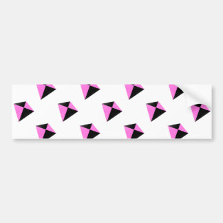 Light Pink and Black Diamond Shaped Kite Pattern Bumper Stickers