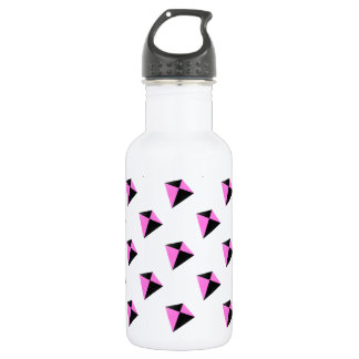Light Pink and Black Diamond Shaped Kite Pattern Stainless Steel Water Bottle