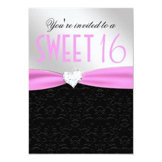 Light Pink and Black Floral Damask Diamond Heart Card