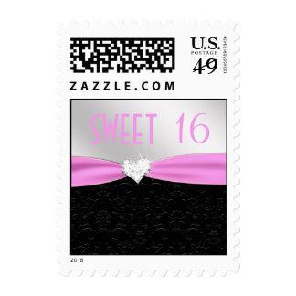 Light Pink and Black Floral Damask Diamond Heart Postage