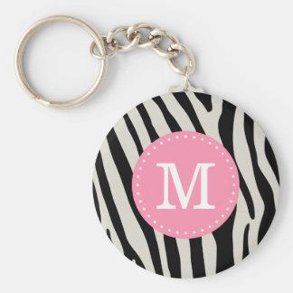 Light Pink and Black Zebra Stripe Custom Monogram Keychain