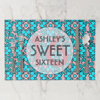 Light Pink And Blue Sweet 16 Birthday Party Paper Placemat