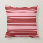 [ Thumbnail: Light Pink and Brown Lined Pattern Throw Pillow ]