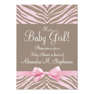 Light Pink and Brown Zebra Bow Baby Shower Card
