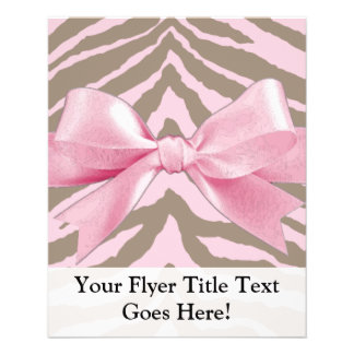 Light Pink and Brown Zebra w/ Ribbon Bow Personalized Flyer