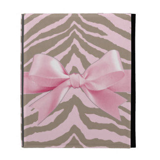 Light Pink and Brown Zebra w/ Ribbon Bow iPad Case