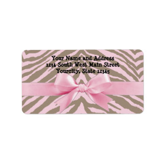 Light Pink and Brown Zebra w/ Ribbon Bow Custom Address Labels