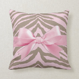 Light Pink and Brown Zebra w/ Ribbon Bow Throw Pillow
