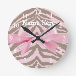 Light Pink and Brown Zebra w/ Ribbon Bow Round Clock