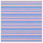 [ Thumbnail: Light Pink and Cornflower Blue Stripes Fabric ]